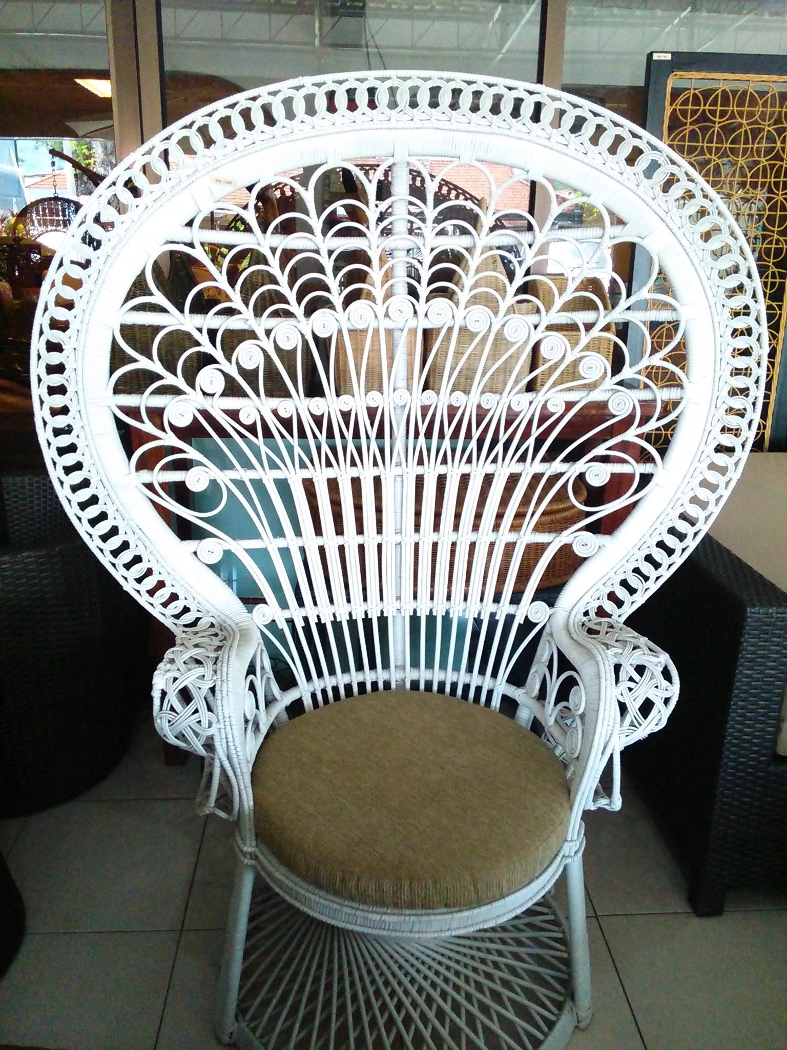 Rattan Peacock Chair White Unicane Furniture